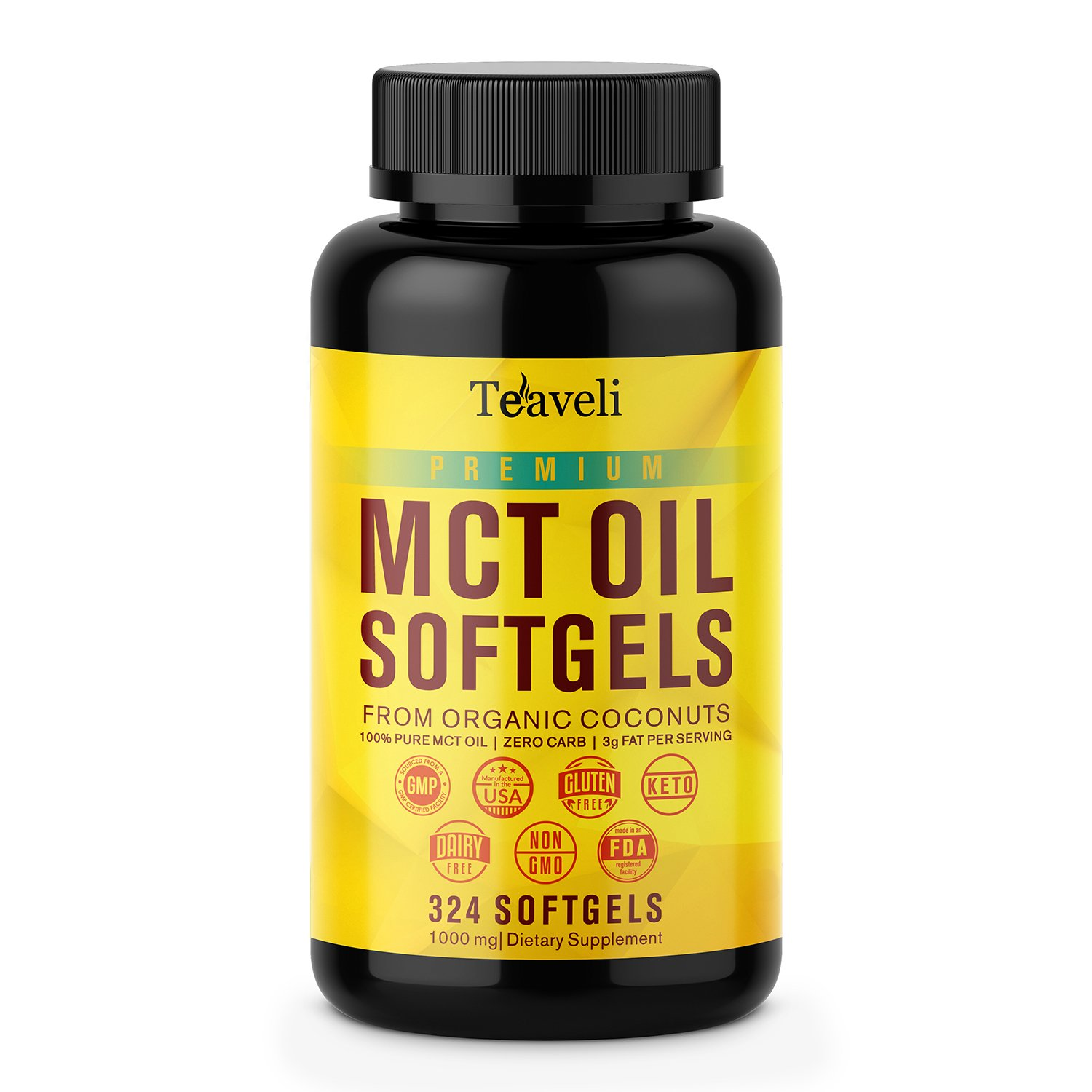 Premium Keto MCT Oil Softgel Capsules Derived From Organic Coconut- 3000mg x 108 Servings- Pure C8 & C10 MCT Fatty Acids-Perfect Ketogenic Ketosis Diet Supplement for Energy, Focus & Weight Management