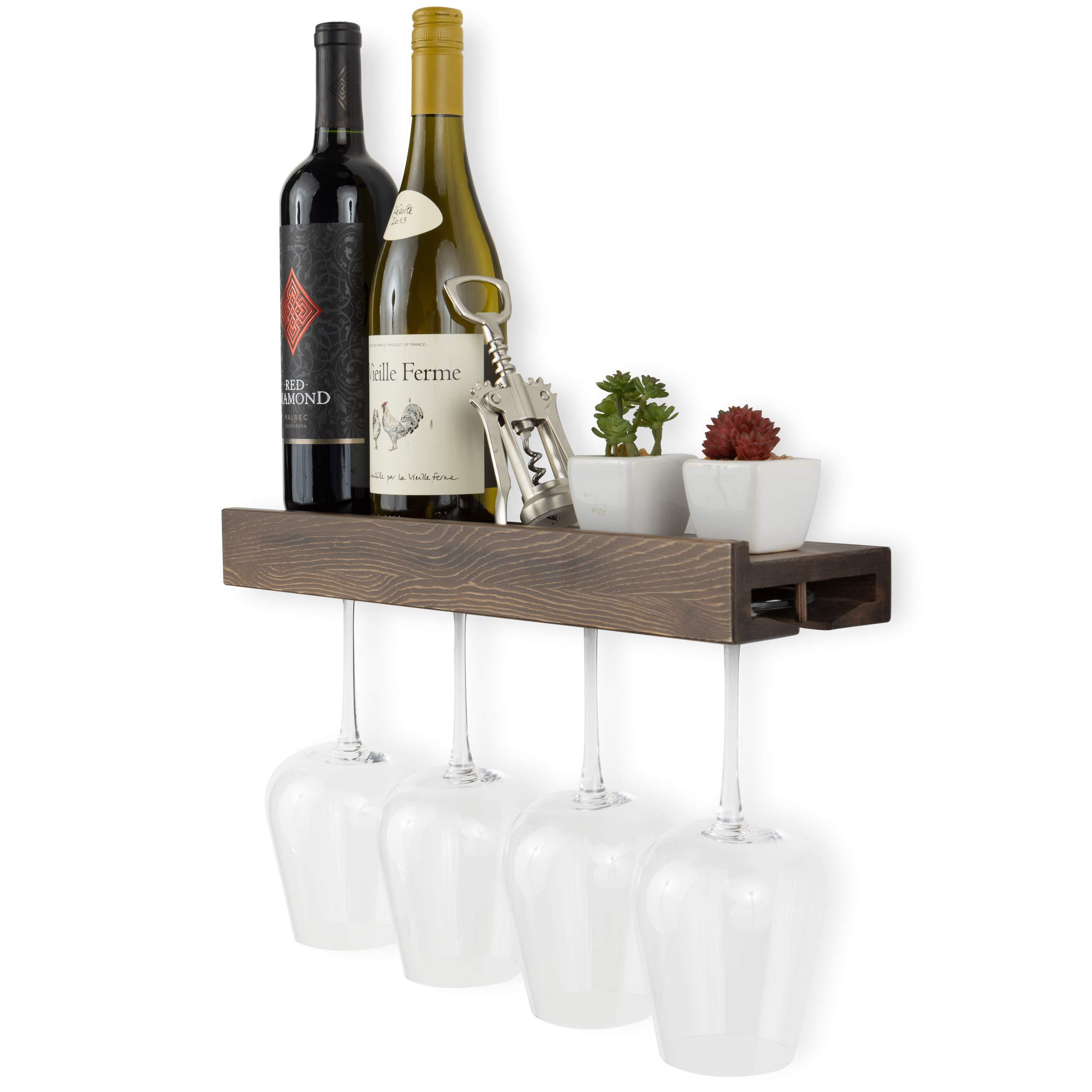 Rustic State Smith Wall Mounted Wood Wine Bottle and Wine Glass Holder Stemware Rack Storage Walnut
