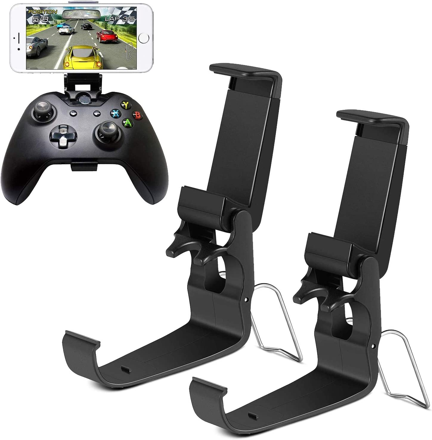 HJD Store 2Pack Xbox One Controller Game Clip Soporte plegable para smartphones para iPhone/One-Plus/LG/Huawei/HTC, compatible con Xbox One/Steelseries Nimbus/Steam Controller: Amazon.es: Videojuegos