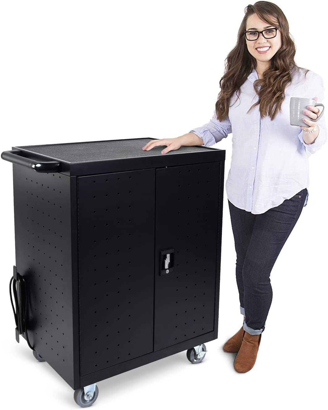 Surge Protection CX Mobile Charging and Storage Cart for Tablets and Laptops Computers with Locking Security Cabinet Front /& Back Access Locking Cabinet