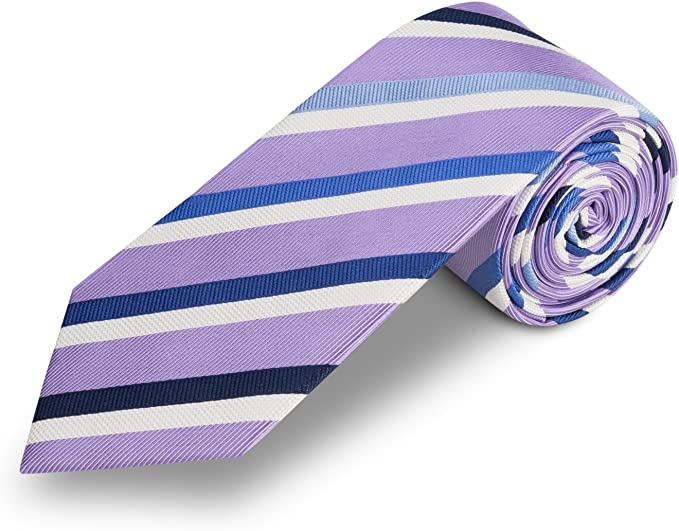Corbata lila a rayas azul, fabricada a mano, 100% seda, el epítome ...
