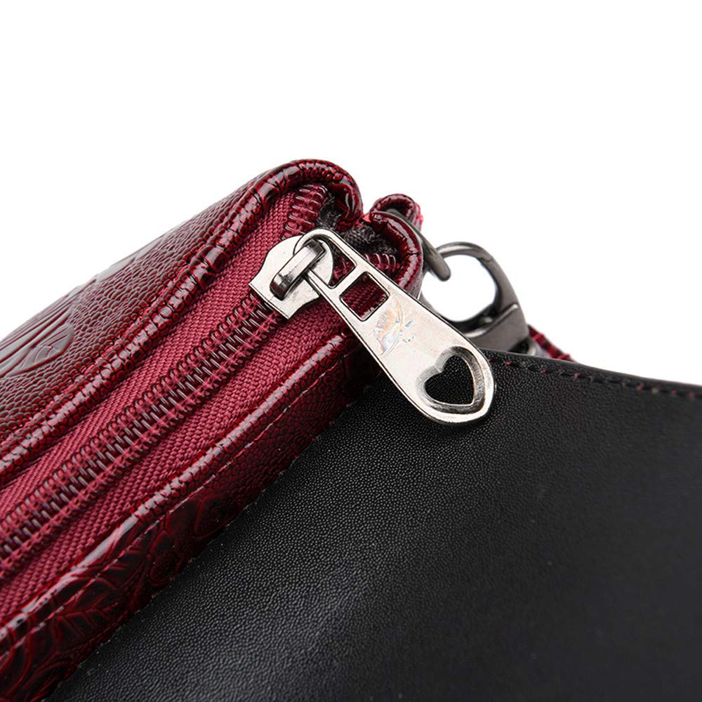 Danhjin Men Women Fashion PU Floral Print Zipper Closure Messenger Bags Envelope Purses Shoulder Bag