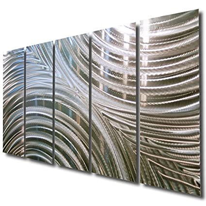 Giant Silver Metal Wall Sculpture   Metal Wall Art, Silver Wall Decor    Contemporary,