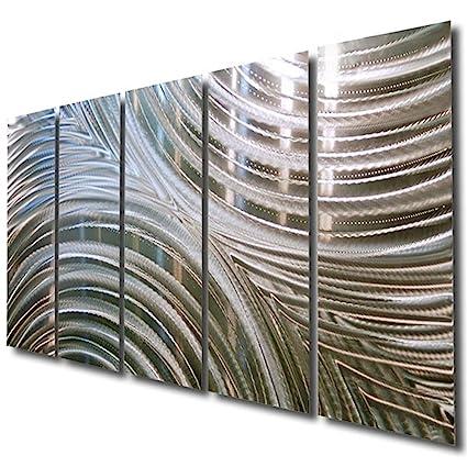 Amazon.com: Giant Silver Metal Wall Sculpture - Metal Wall Art ...
