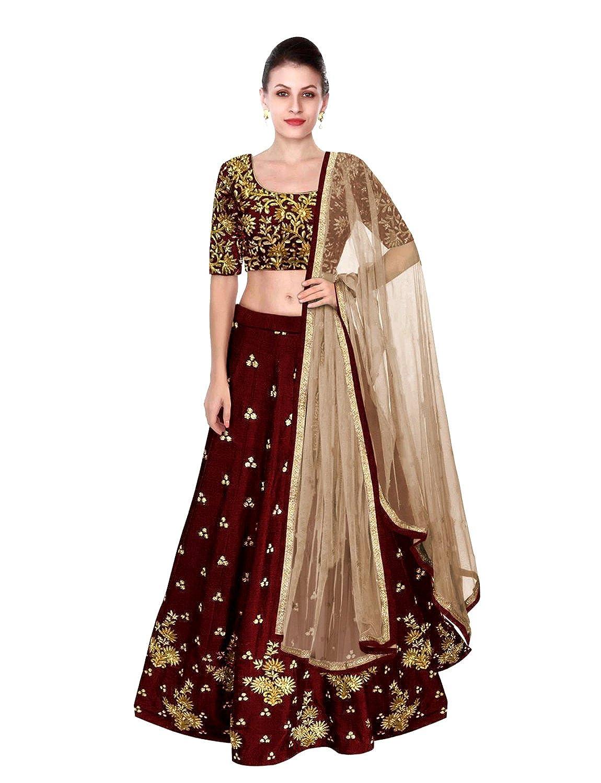 Shree Impex Women's Embroidered Taffeta Silk Semi stitched Lehenga choli with dupatta (Freesize)