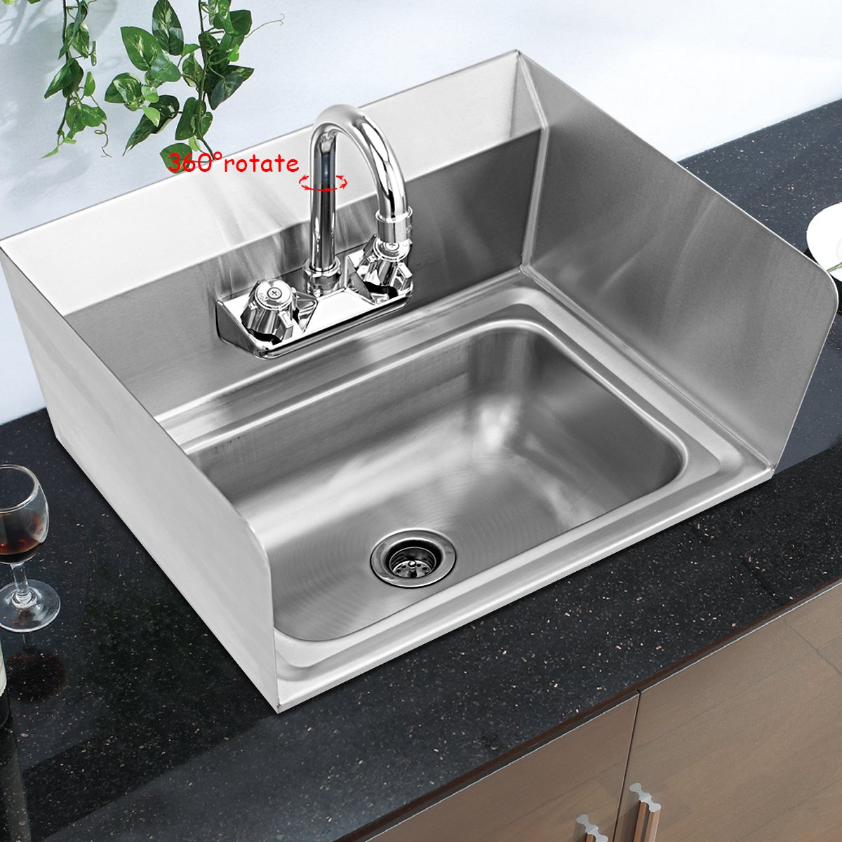 Giantex Stainless Steel Hand Washing Sink with Wall Mount Faucet & Side Splashes NSF Commercial Kitchen Heavy Duty Hot & Cold Temperature Water Inlet Washing Basin, Silver by Giantex (Image #6)