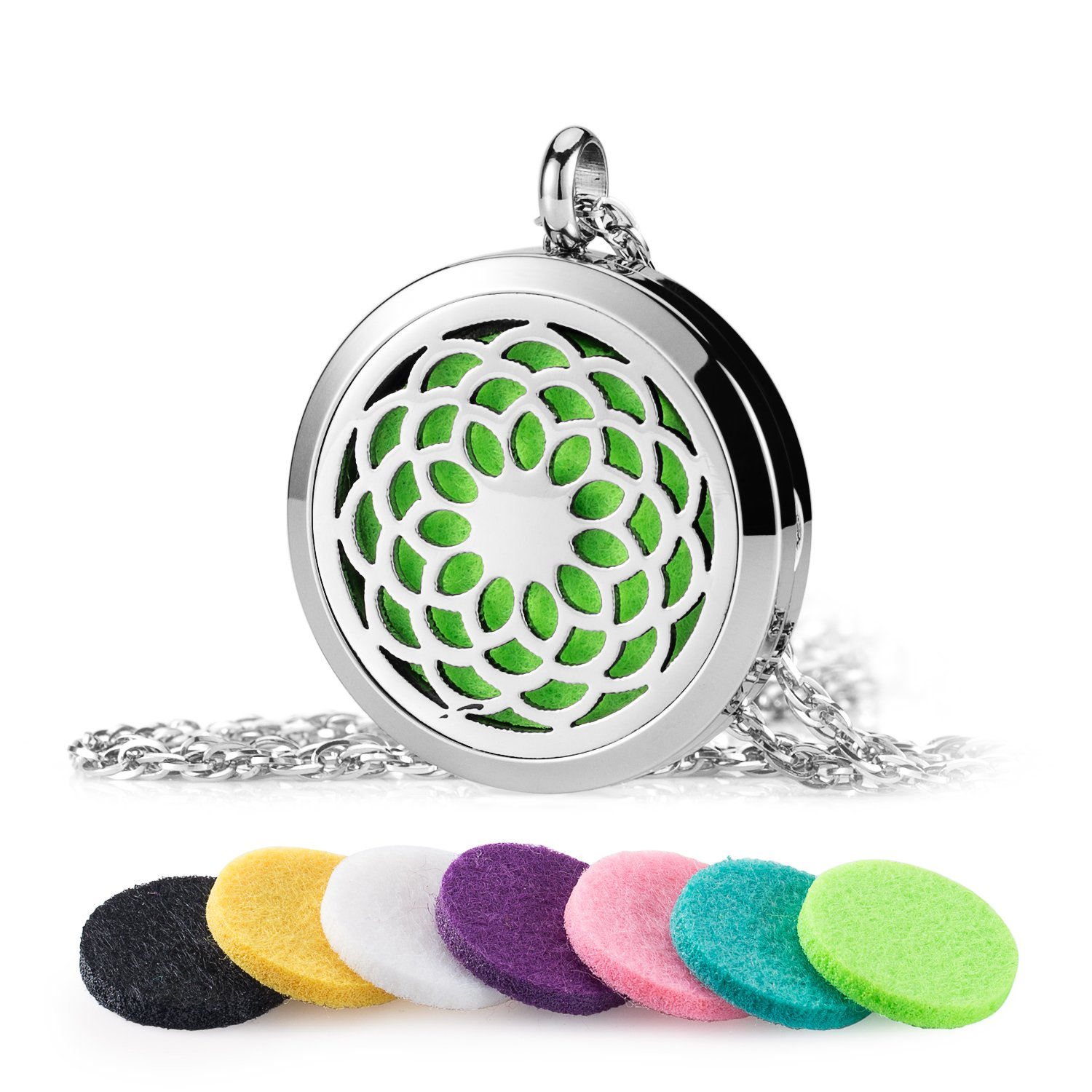 Aromatherapy Essential Oil Diffuser Necklace AromaHouse 316L Stainless Steel Locket Pendant Jewelry,24 Adjustable Chain+7 Refill Pads Aroma House Tree-S