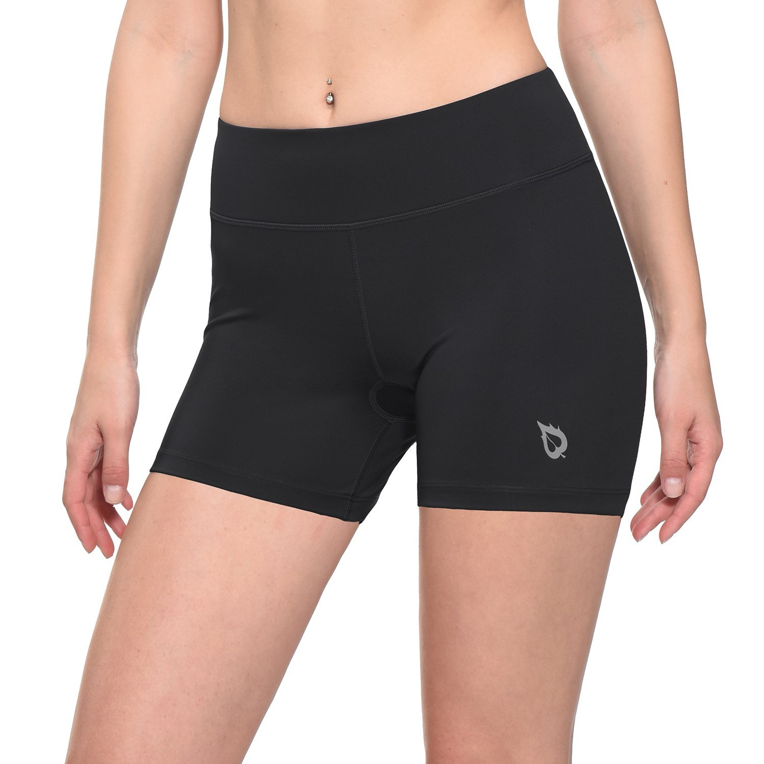 Baleaf Women's 4'' Compression Volleyball Shorts Training Workout Back Pocket Black Size L by Baleaf