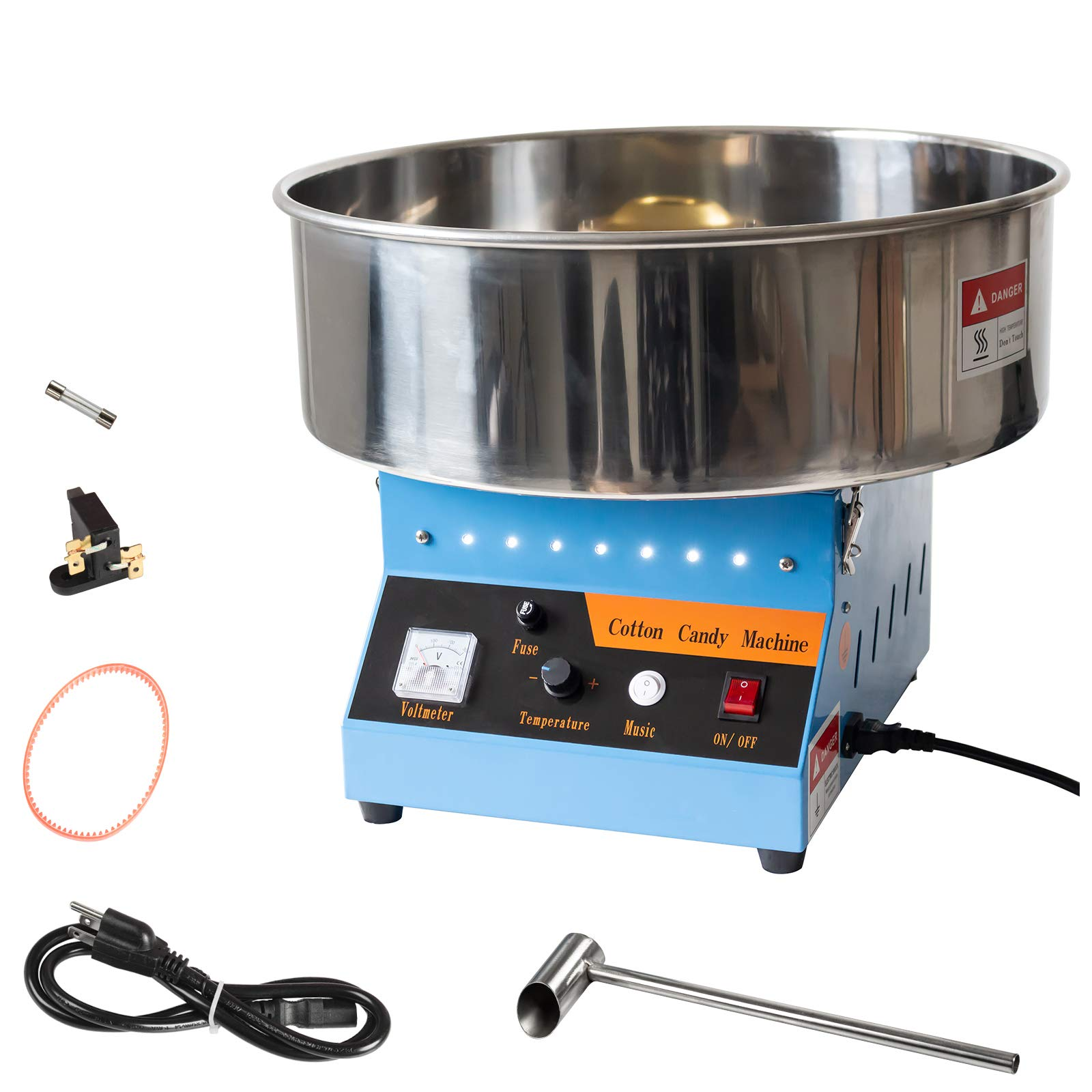 AJO Electric Commercial Quality Cotton Candy Machine and Candy Floss Maker (Blue)