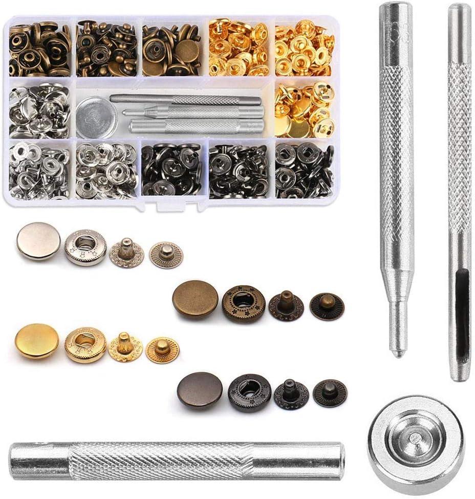 Corchetes Metal AILANDA Kit Herramientas Botones de Presión 120pcs Corchetes de Presion Metalicos con Herramientas de Reparación para Cuero Ropa Vaquero