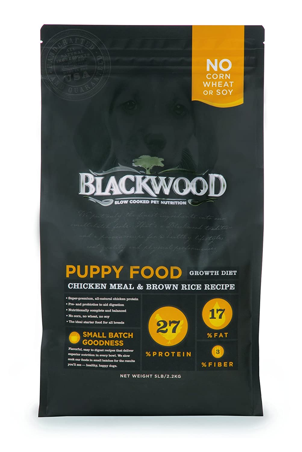 Blackwood Puppy Food Growth Diet Made in USA Natural Dry Dog Food For All Breeds and Sizes of Puppies , Chicken Meal Brown Rice Recipe