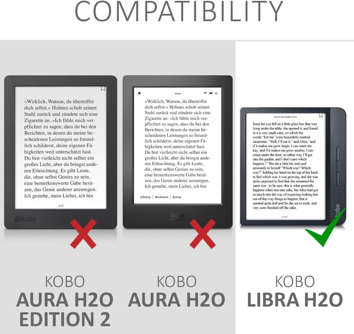 Carcasa magn/ética de Origami para e-Book Elefante art/ístico Rosa Fucsia//Antracita kwmobile Funda Compatible con Kobo Nia