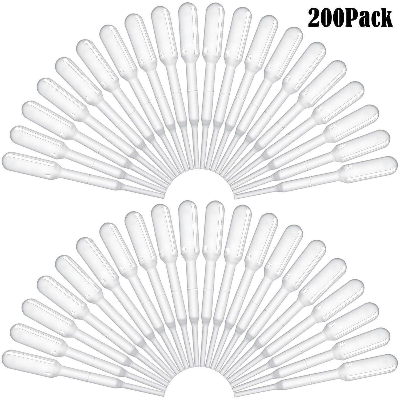 BronaGrand 200pcs 0.2ml Disposable Plastic Graduated Transfer Pipettes Dropper