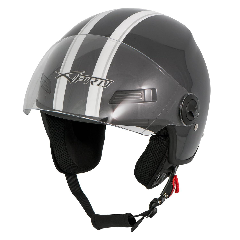 A-Pro Motorradhelm Motorrad Roller Offenes Jet Helm Viser ECE 22 05 Weiss 2XL
