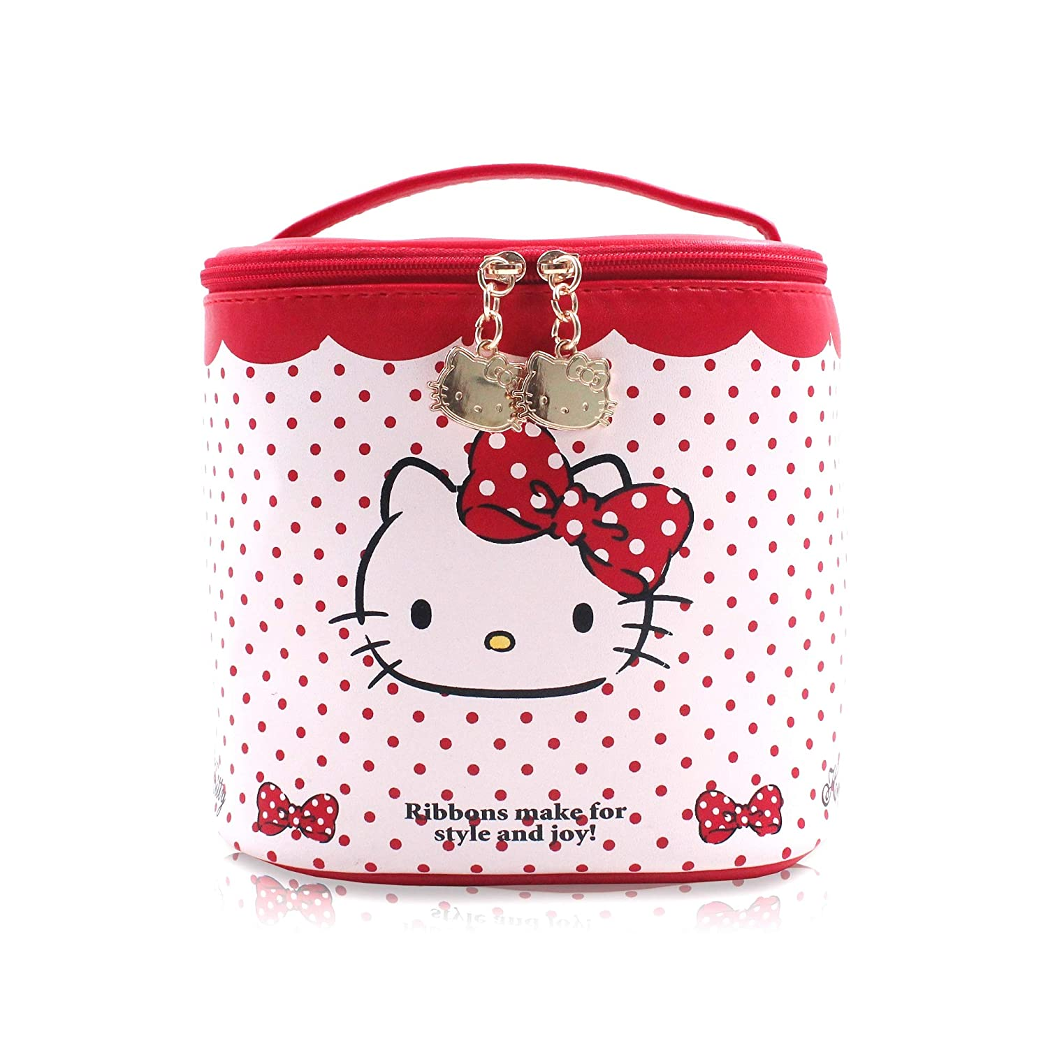 f4f0b2dd20 Amazon.com  Finex Hello Kitty Red Polka Dot Bucket Cylinder Shape Cosmetic  Bag with Double Hellokitty Head metal Zippers and Top Handle  Beauty