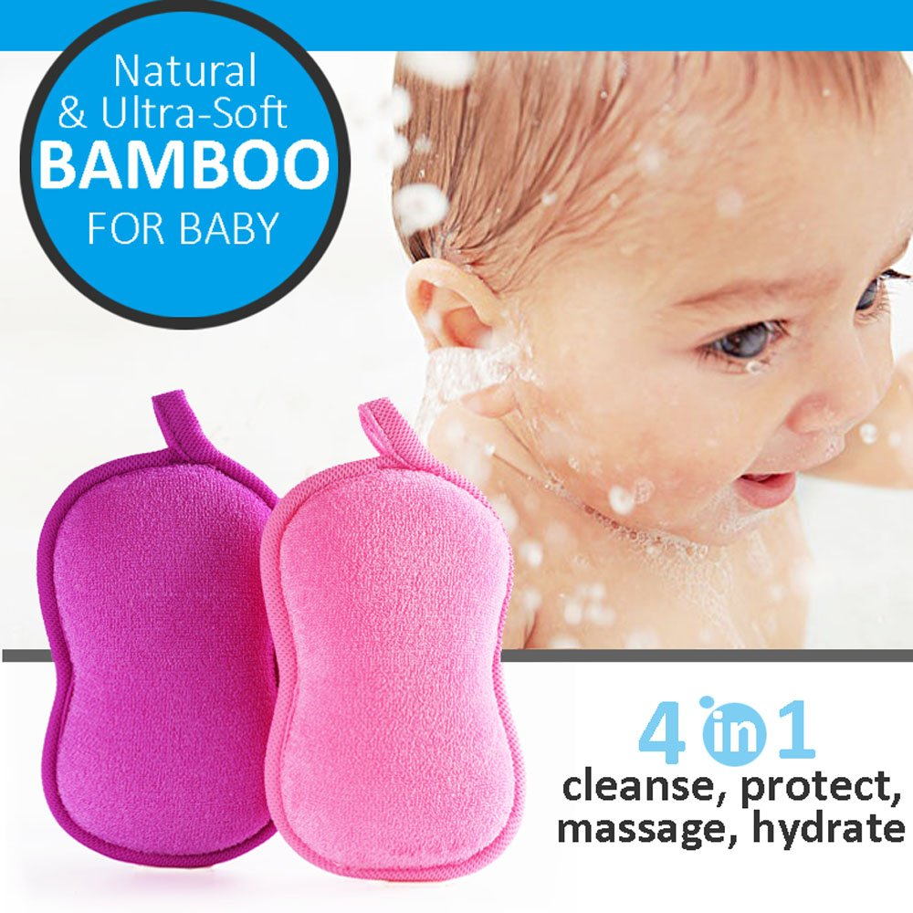 BabaMate Natural Bamboo kids & Baby Bath Sponge - 2 Pack - Ultra Soft & Absorbent Sponges For Baby's Tender Skin, Natural Antimicrobial, Hypoallergenic- Pink Violet CA80112-1
