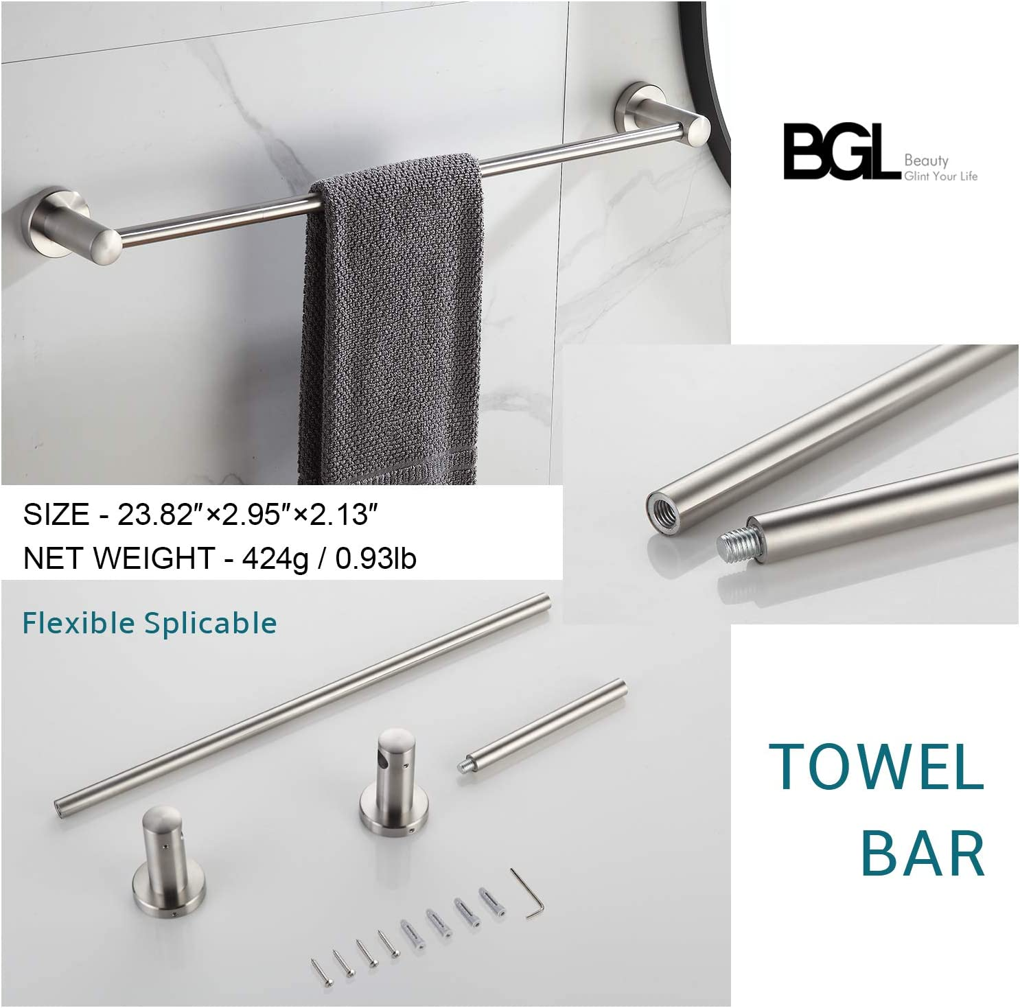 BGL Bathroom Accessory Set Adjustable Expandable Towel Bar 304 Stainless Steel 4-Piece Brushed Nickel Bathroom Hardware Set Robe Hook Toilet Paper Holder Towel Ring Towel Bar