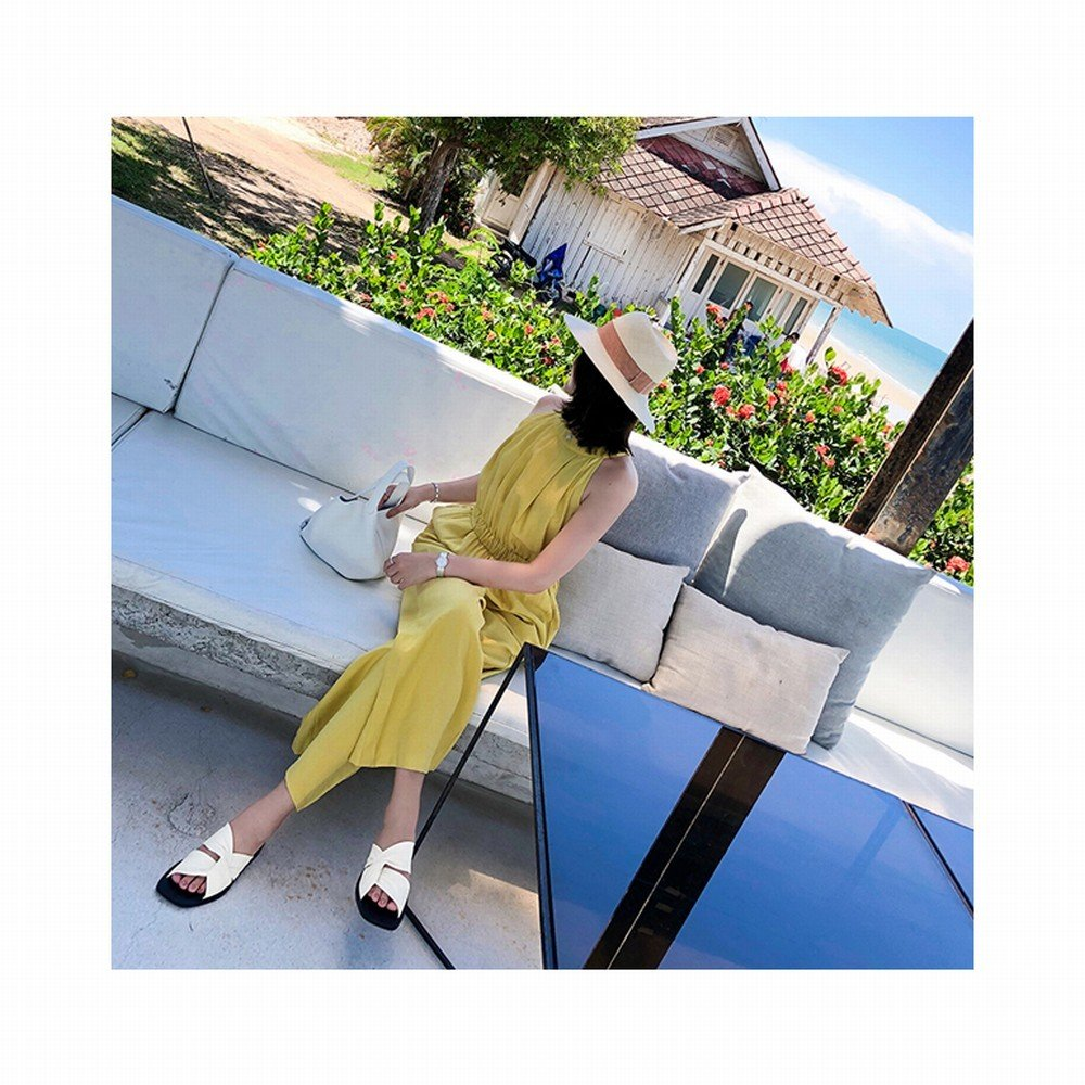 DHG Sandali da donna e sandali incrociati da estate,Bianco,40