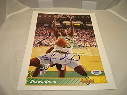 4b0054f59d724 Signed Shawn Kemp Picture - Upper Deck Jumbo 8x10 Card COA 1A - PSA ...