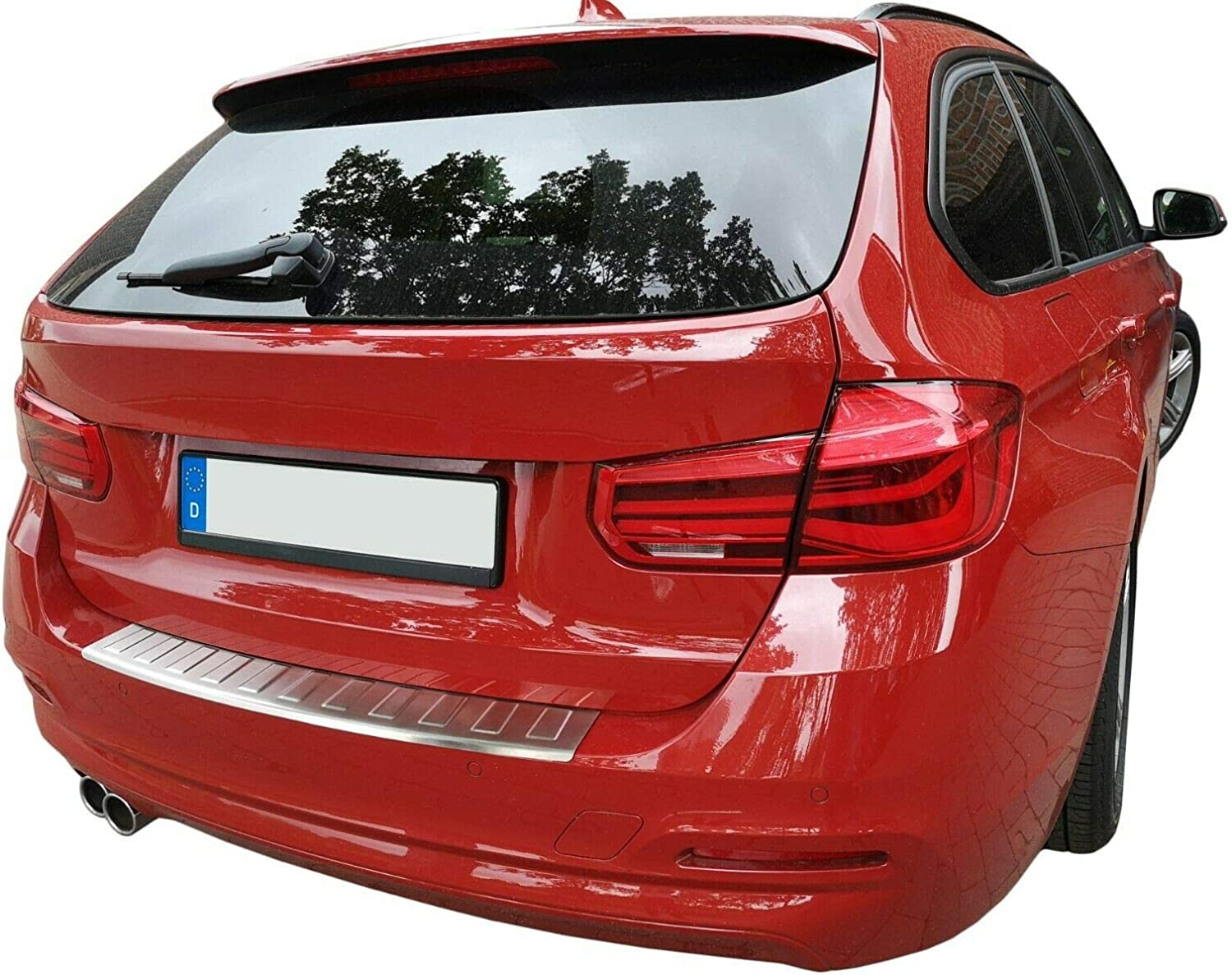Rear Bumper Protector for SERIES 3 F31 TOURING 2012-2019 Matt Stainless Steel Protection for Cargo Boot Edge