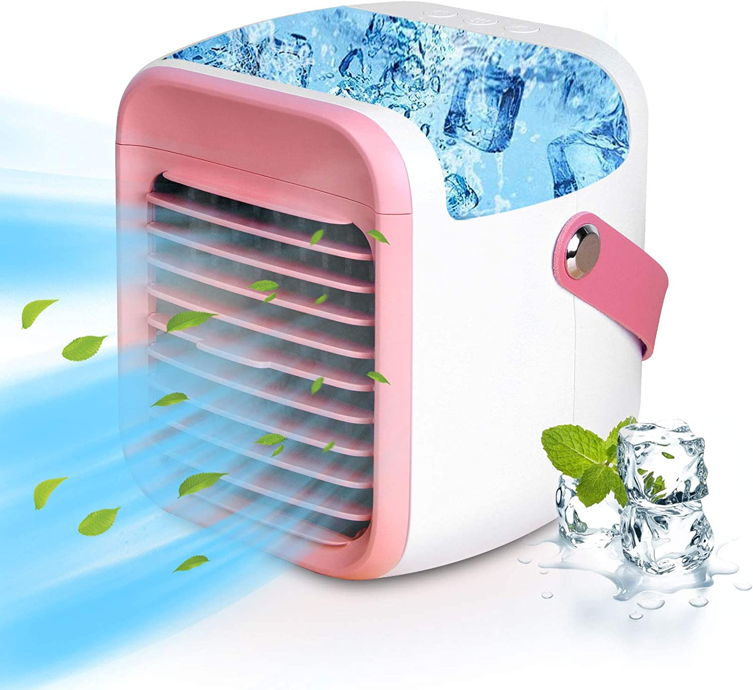 LISOPO Portable Air Conditioner Fan Rechargeable Evaporative Air Cooler with 7 Color Night Light & Humidifier & Filtration Function | Personal Small Air Conditioner Desk Fan for Home Office Bedroom