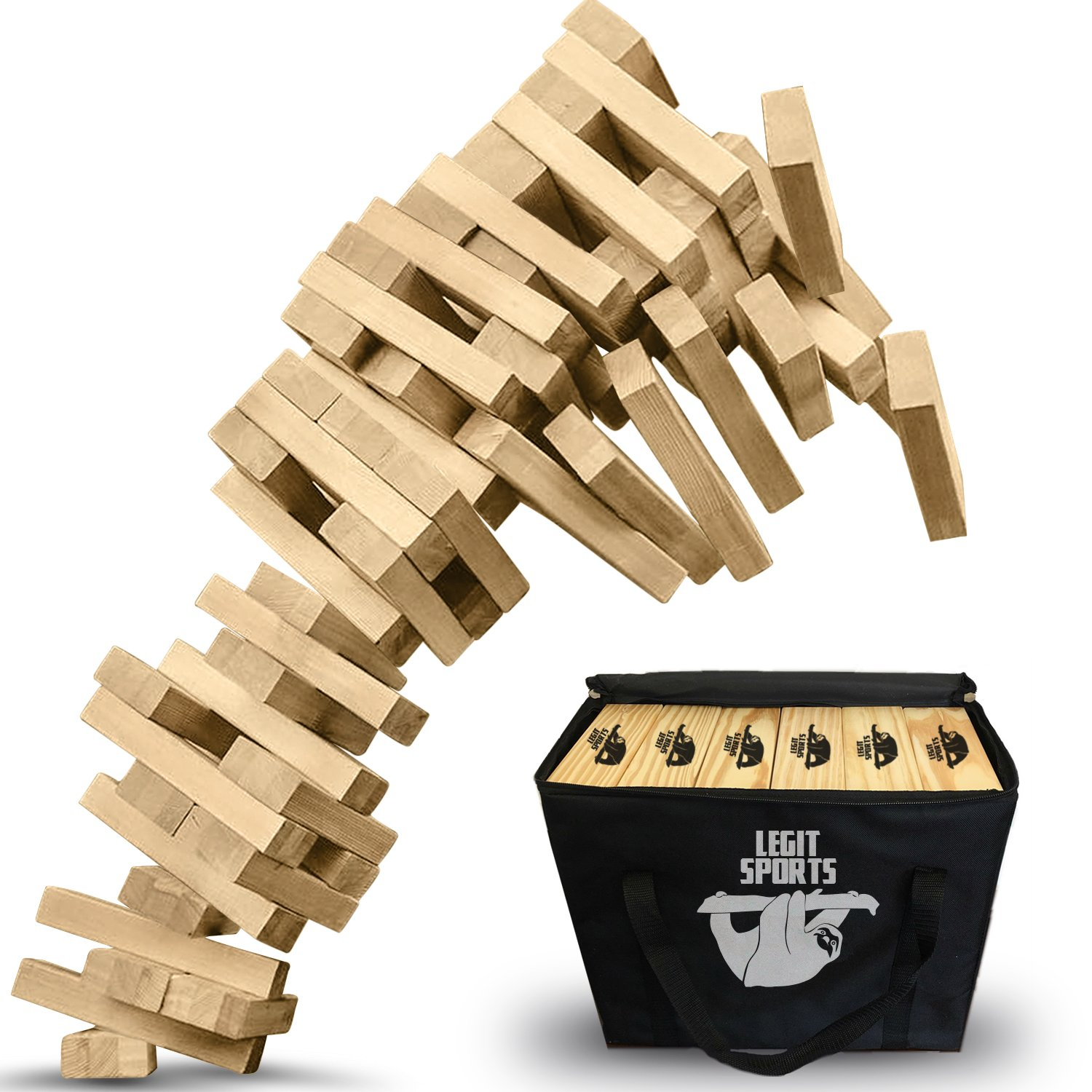Giant Tumbling Timbers by Legit Sports - The Big Life Size Stacking Blocks Game Everyone Loves- Jumbo Tumbling Timbers Set Includes Large Stacking Wood Blocks - in-Door Outdoor Yard Fun!