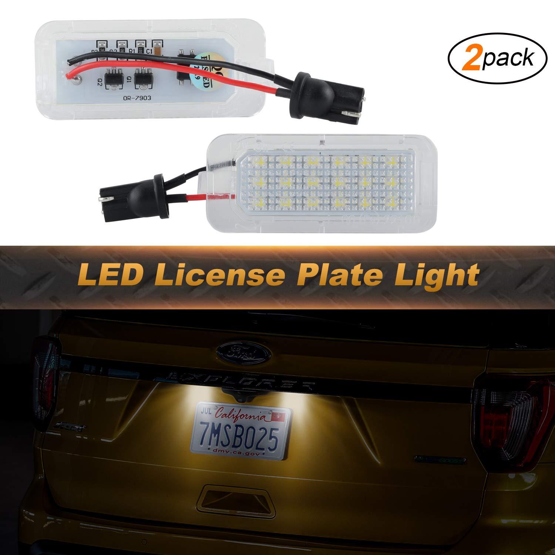 Luci targa OZ-LAMPE 2pcs 18 Luci targa a LED 2835 SMD compatibili con For-d Escape 2013-2018 Explorer 2011-2018 Fiesta 2011-2018 Fusion 2013-2018 Lincol-n MKC 2015-2018