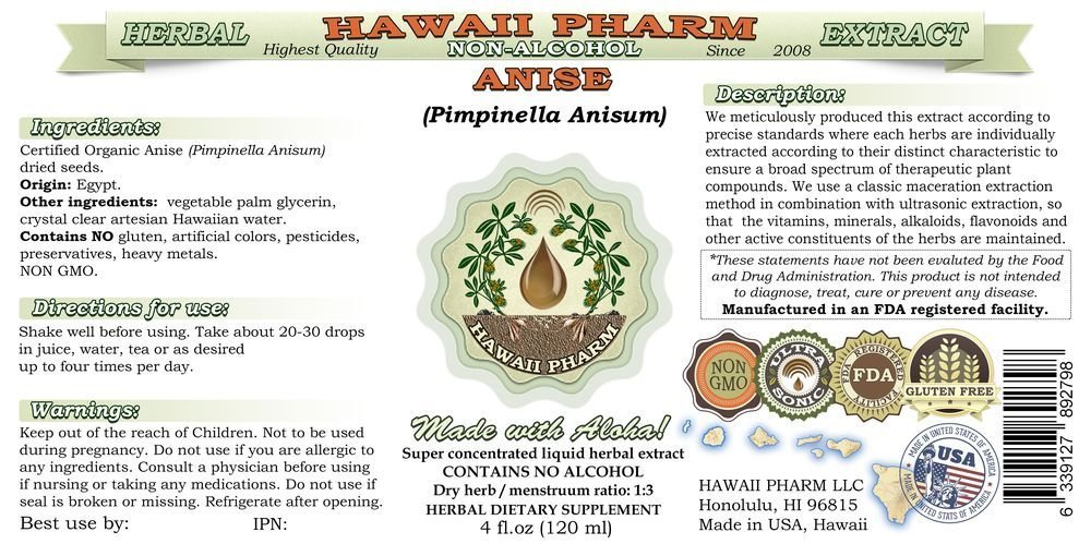 Anise Alcohol-FREE Liquid Extract, Organic Anise (Pimpinella Anisum) Seed Glycerite Hawaii Pharm Natural Herbal Supplement 4 oz by HawaiiPharm (Image #2)