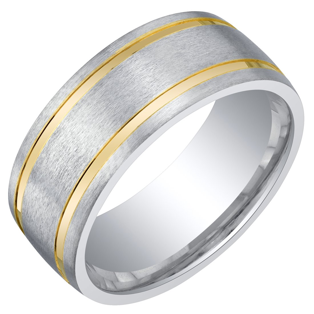Mens Two-Tone Sterling Silver Wedding Ring Band in Brushed Matte 8mm Comfort Fit Size 11.5