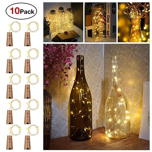 Sunniu - 10 paquetes de luces de corcho para botellas de vino, color blanco cálido