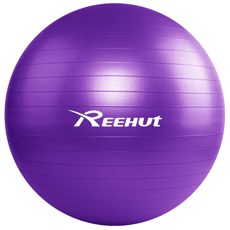 REEHUT Anti-Burst Core Exercise Ball for Yoga, Balance, Workout, Fitness w/Pump (Purple, 55CM) by REEHUT
