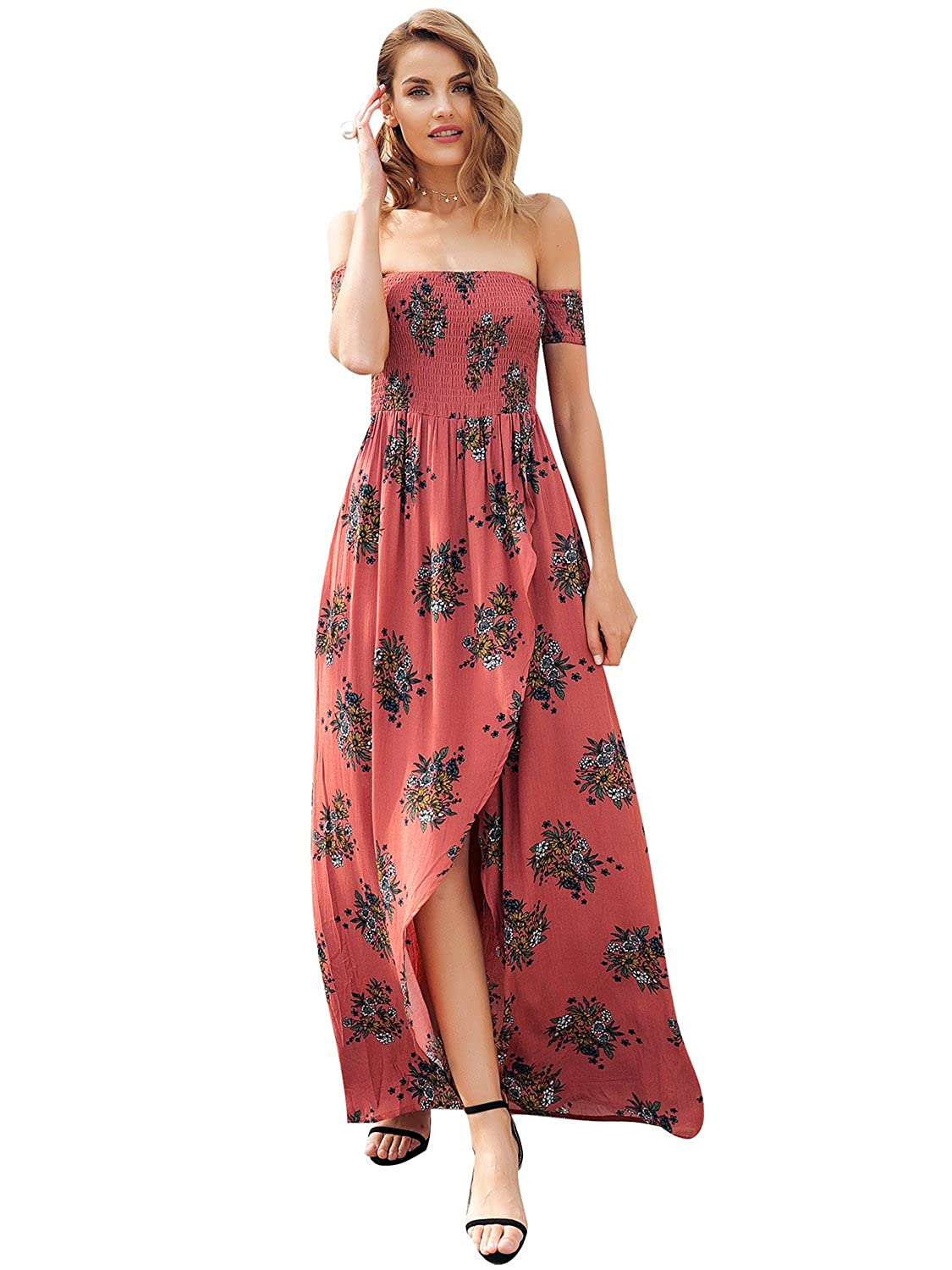 deb73d215ba1 Simplee Women s Boho Floral Off Shoulder Maxi Beach Dress with Long Sleeves Rust  Red at Amazon Women s Clothing store