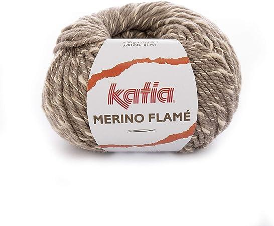 Katia Merino Flame FB. 102 – visón, Aguja de Lana con algodón para ...