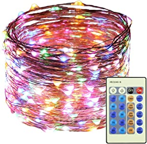 RUICHEN LED String Lights Plug in, 99Ft 300 LED Waterproof Dimmable Fairy Lights with Remote, Outdoor Decorative Copper Wire Twinkle Lights for Wedding Parties Patio Christmas Tree (Multicolor)