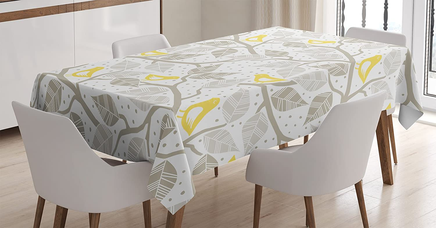 Dining Room Kitchen Rectangular Table Cover Birds on the Branch with Pastel Colored Leaves on Dotted Background Nature Art Home Ambesonne Grey Decor Tablecloth by 60 X 84 Inches Yellow Gray White