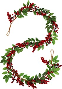 vensovo Artificail Christmas Red Berry Garland - 6 FT Christmas Berries Garland Decoration, Winter Holiday Greenery Decor for Fireplace Table Stairs Front Door Decoration…