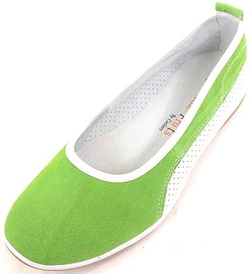 Damen/Damen Leder/Wildleder Sommer Slip auf/Ballett/Pumpen/Wohnungen/Schuhe, Grün - Grün - Größe: 40.5 SNUGRUGS