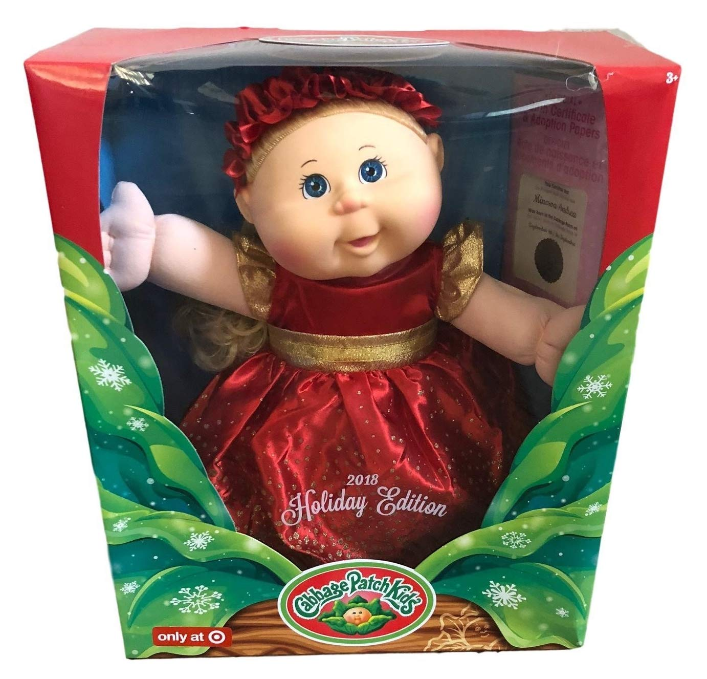 Cabbage Patch Kids 2018 Limited Edition Holiday Baby Doll Blonde with Blue Eyes Fabrique