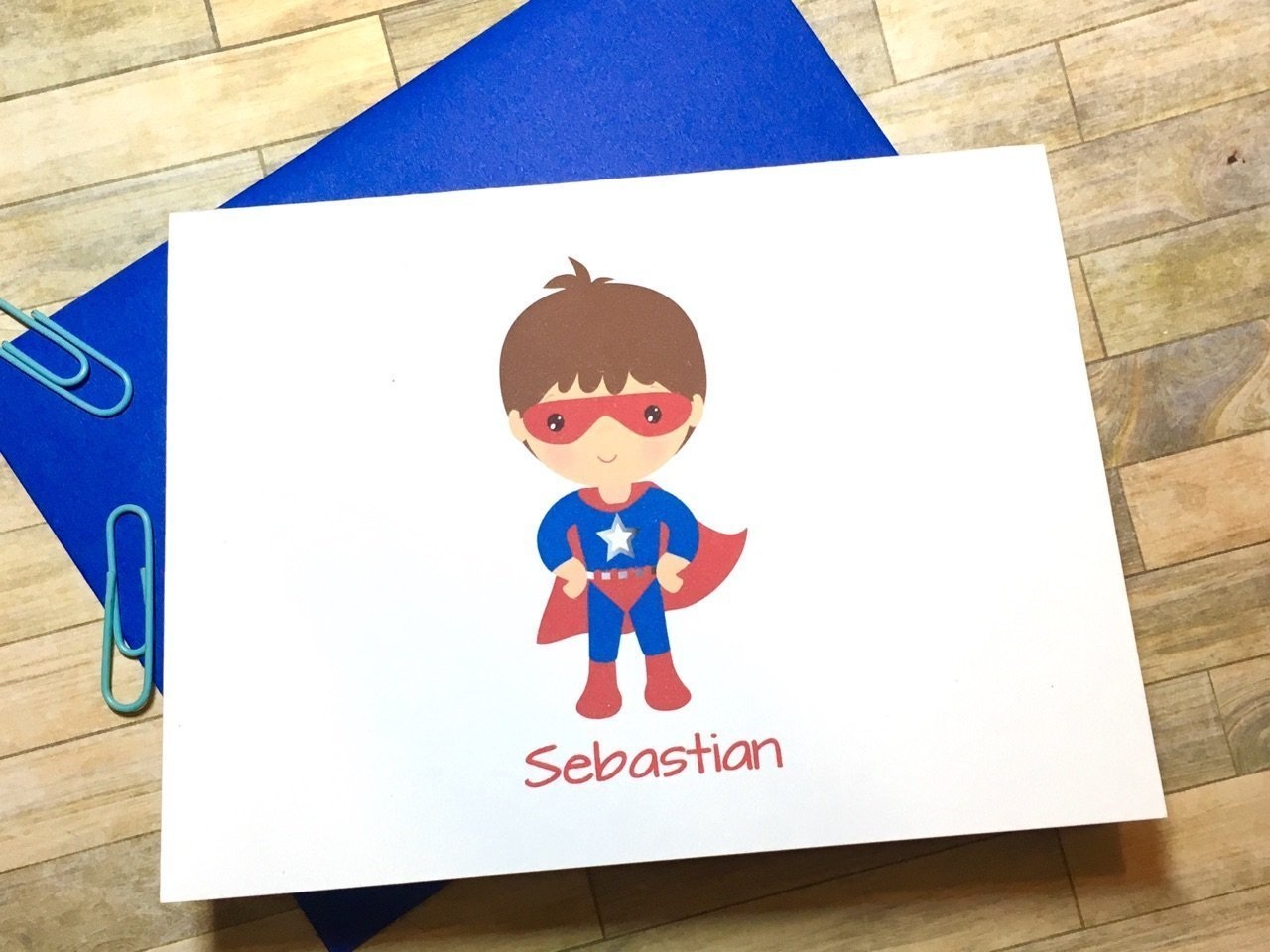 Super Hero Stationery - Personalized Boys Superhero Cards - Thank You - Personalized Cards - Cape Mask DM600