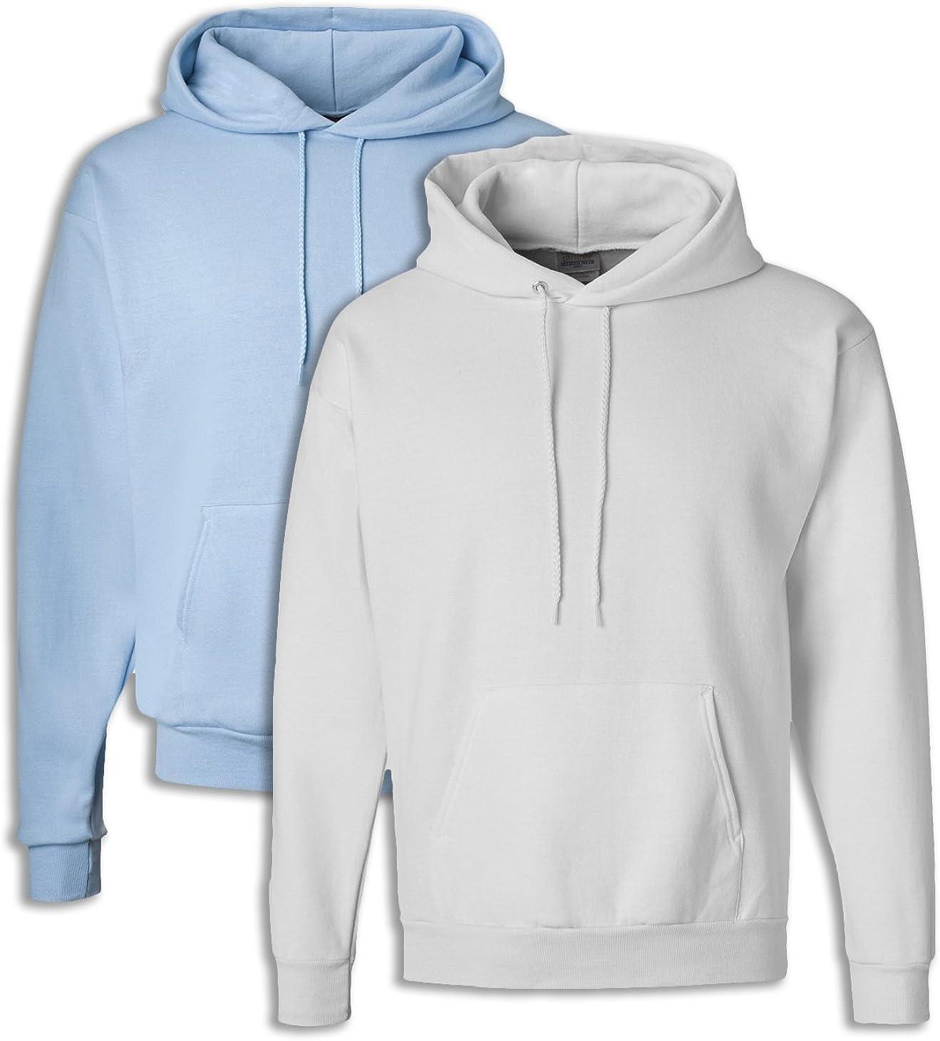 1 White Hanes P170 Mens EcoSmart Hooded Sweatshirt 2XL 1 Light Blue