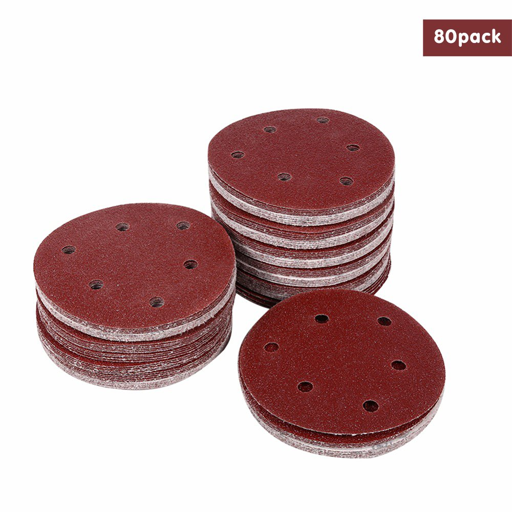 80PCS Sanding Discs Pads, Fengus 5 Inch Sandpaper Hook and Loop Discs Assorted 40 60 80 100 120 150 180 240 320 400 Grits, 8-Holes Sander Paper Pads for Random Orbit Sanders