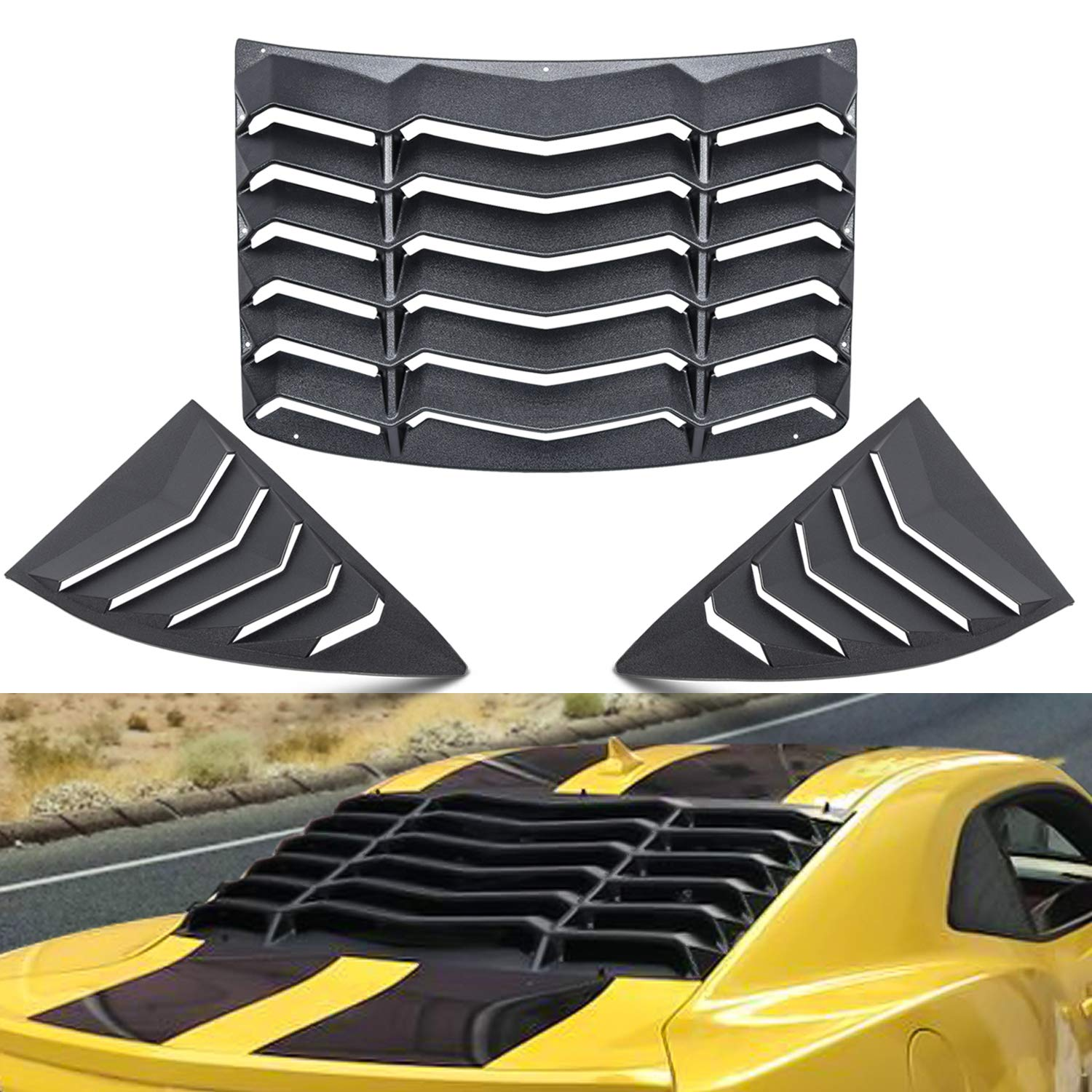 CUMART Rear+Side Window Louvers Sun Shade Windshield Cover Matte Black Compatible with Chevrolet Chevy Camaro 2010 2011 2012 2013 2014 2015 Complete Set