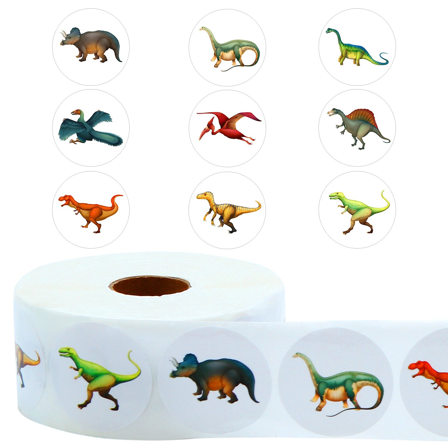 Coobey 999 Pieces Dinosaur Stickers Round Assorted Dinosaur Figures Stickers for Kids Education Toy or Party Favor, 10 Style on a Roll, 1.5 Inches