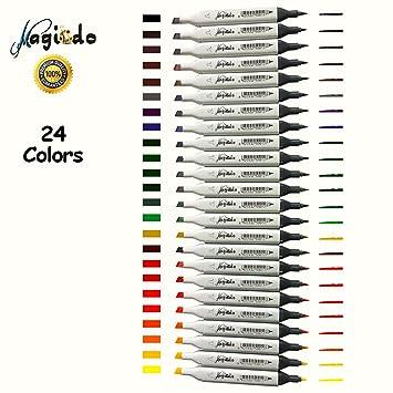 magicdo® 12/24 pcs blanco/negro juego de rotuladores, colores ...