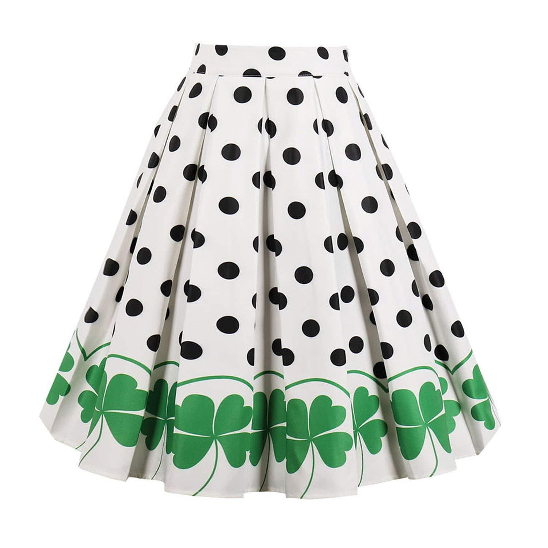 Green It's a big deal Floral Print Vintage Skirts Women High Waist KneeLength Casual Ruffles Midi Skirts ALine Party Skirt