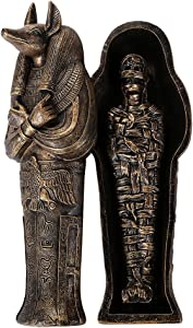 Pacific Giftware Ancient Egyptian Artifact Collectible God of Underworld Anubis Sarcophagus Coffin w/Mummy Insert Figurine 5.5 Inch L