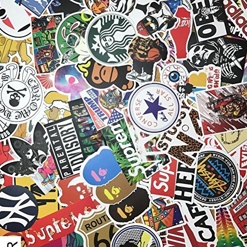 "Custom & Decorative {2.4'' to 5"" Inch} 100 Bulk Pack of Jumbo Size Stickers for Arts, Crafts & Scrapbooking w/ Random Vinyl Skateboard Pop Art Bomb Laptop Luggage Dope Assorted Lot Style {Multicolor} by mySimple Products"