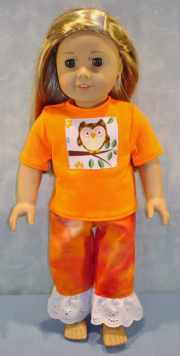 Owl on Orange Tie Dyed Pantsuit handmade by Jane Ellen to fit 18 inch dolls 18 Inch Doll Clothes