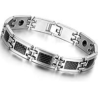 Oidea Nouveauté Bracelet Aimanté Homme Acier Inoxydable Incrustations de Fibre Carbone Noire avec Sac Cadeau