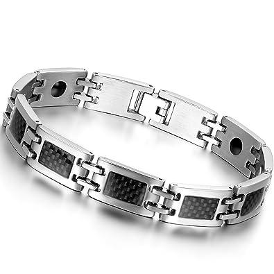 7aee92c9cfc Oidea Nouveauté Bracelet Aimanté Homme Acier Inoxydable Incrustations de Fibre  Carbone Noire Avec Sac Cadeau